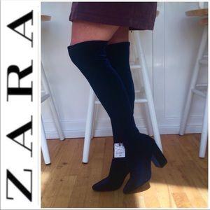 🆕 NWT ZARA Over The Knee Velvet Boots Cobalt Blue